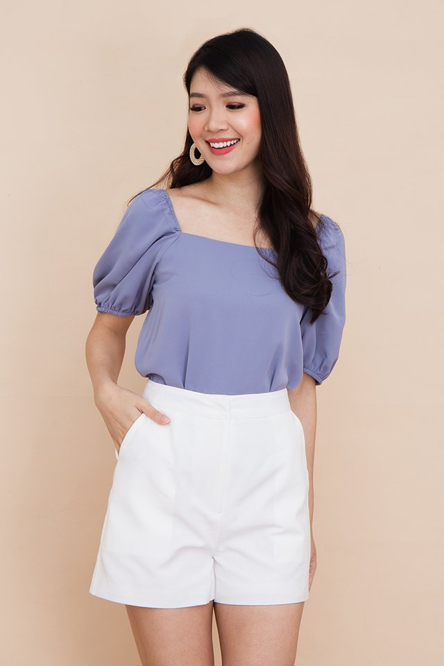 Thea Puff Sleeve Top in Periwinkle Blue