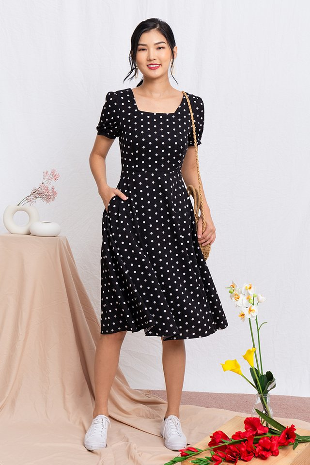 Timeless Tale Polka Dot Midi Dress in Black