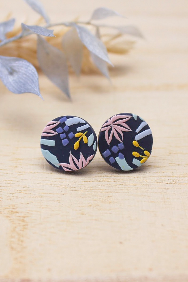 Tuileries Small Round Studs in Midnight Blue