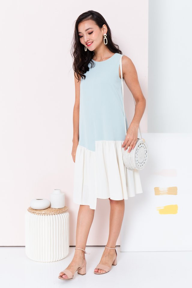 Waterfall Asymmetrical Hem Dress in Mint Cream