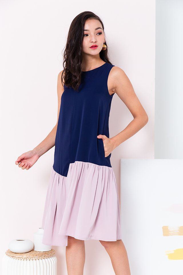 Waterfall Asymmetrical Hem Dress in Navy Mauve