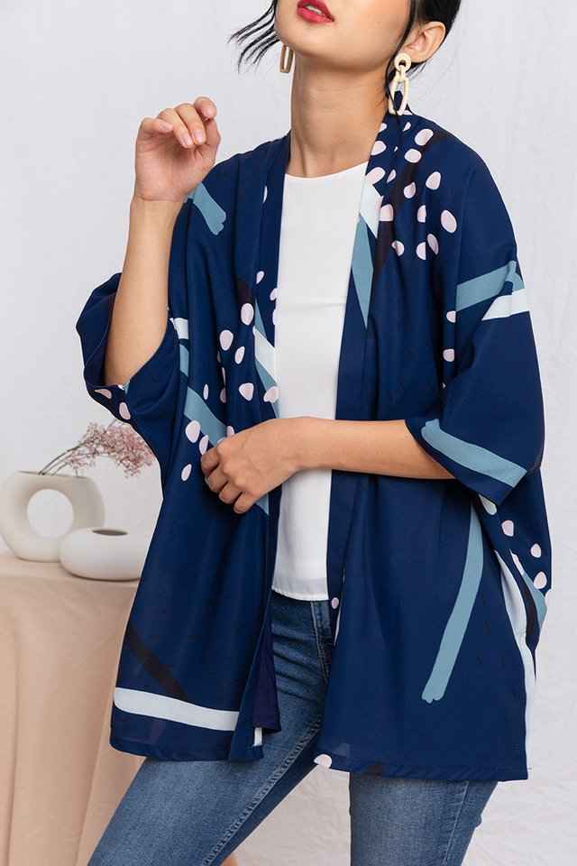Yumi Wide Sleeved Kimono Jacket in Navy Kaleidoscope